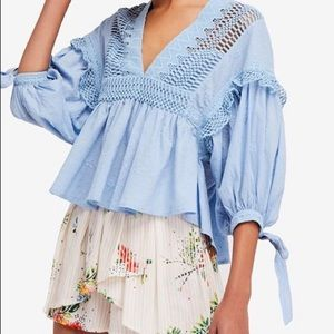 Free People 'Drive You Mad' Crochet Blouse sz L